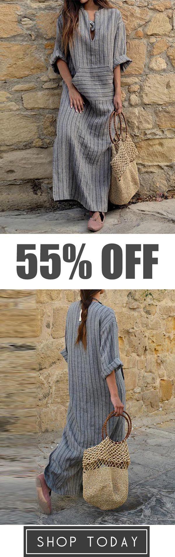 8dcfe70d9f3 Casual Loose Maxi Dresses Cotton Linen Striped Long Sleeve Dress ...