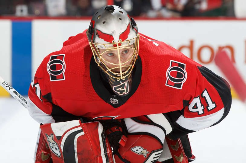 Ottawa On March 8 Craig Anderson 41 Of The Ottawa Senators Looks On During Warmup Prior To A Game Against The Buffalo Sabres At Canadian Tire Centre On Mar