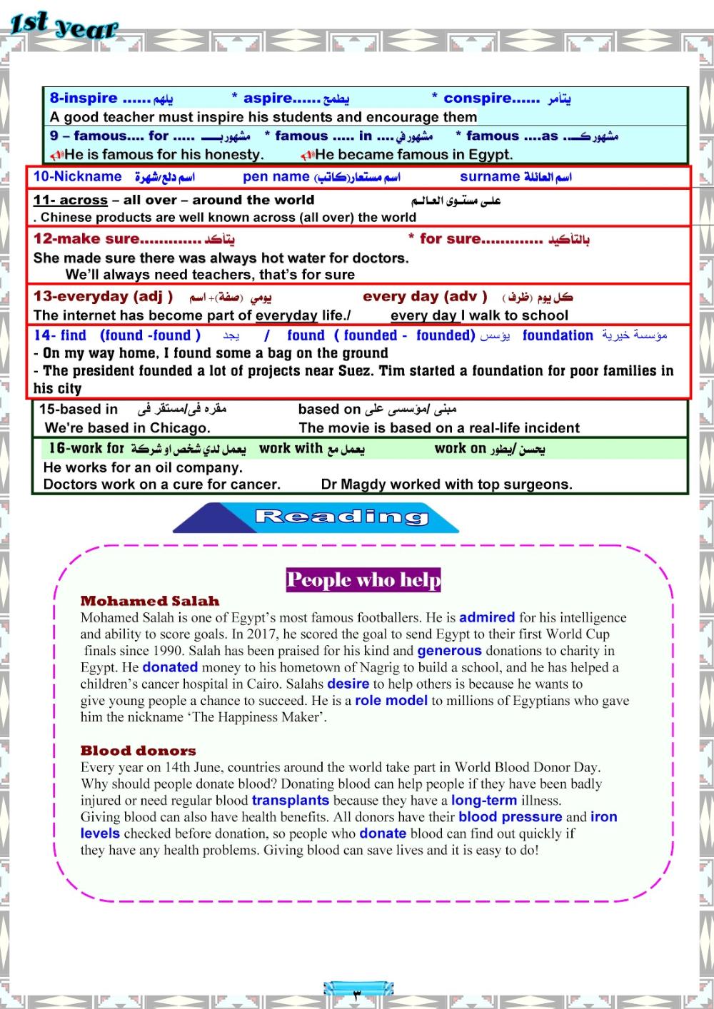 مذكرة المنهج الجديد للصف الاول الثانوي اللغة الانجليزية ترم اول 2020 مستر محمد فوزي Best Teacher Pen Name Encouragement