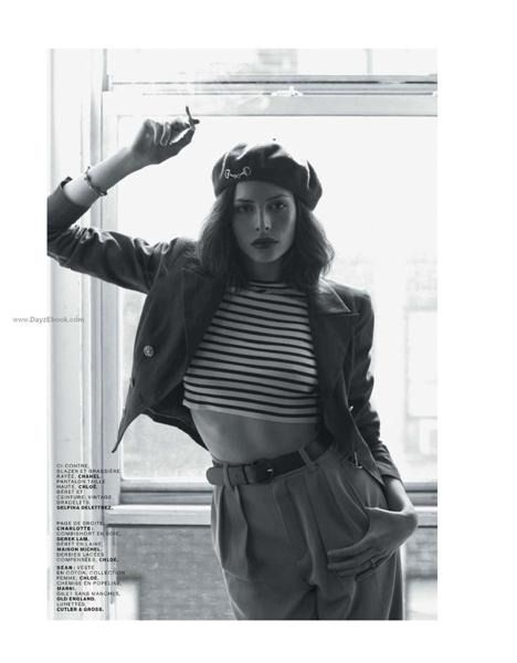 French beret and jacket over striped crop top and 40 s slacks 0f7032bbcda