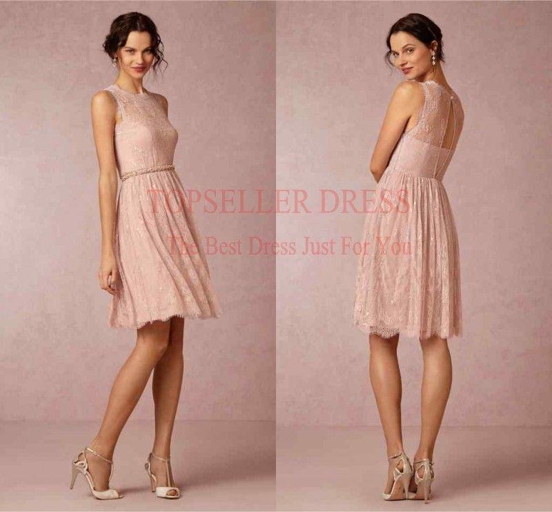 Cheap Pink agraciada Desnudo Joya Con cordón del amor Vestido De ...