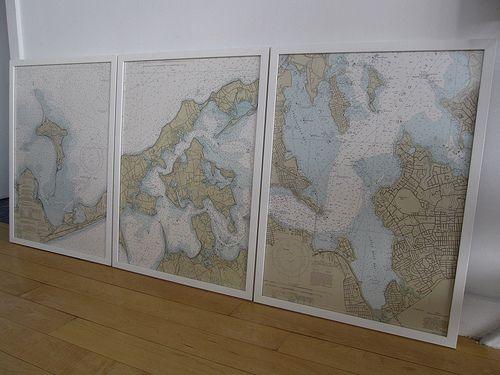 Framed nautical chart series going to do the bvis mount desert