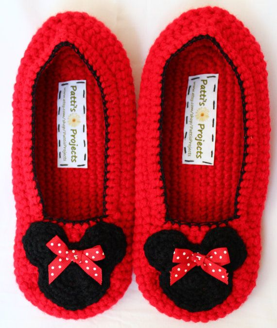 Minnie Mouse Inspired slippers - Discontinued | Schuhe häkeln ...