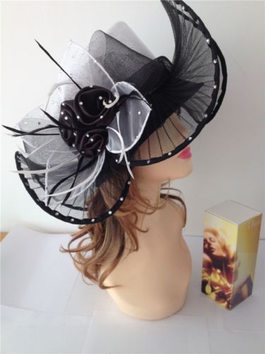 2014 Church Kentucky Derby Sinamay Medium Wave Brim with Satin and Stones Hat