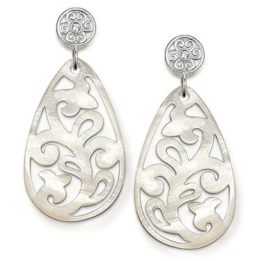 86bb09dd0 THOMAS SABO ear studs made from 925 Sterling Silver with white syn.  zirconia and mother-of-pearl. The filigree, drop-shaped mother-of-pearl  earrings with ...