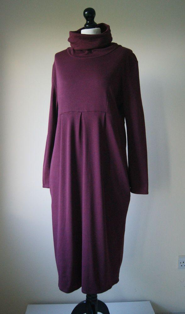 WALL LONDON Fab Balloon Hem Pima Cotton Jersey Lagenlook Dress L 14 16 18  £73.73 (16B)