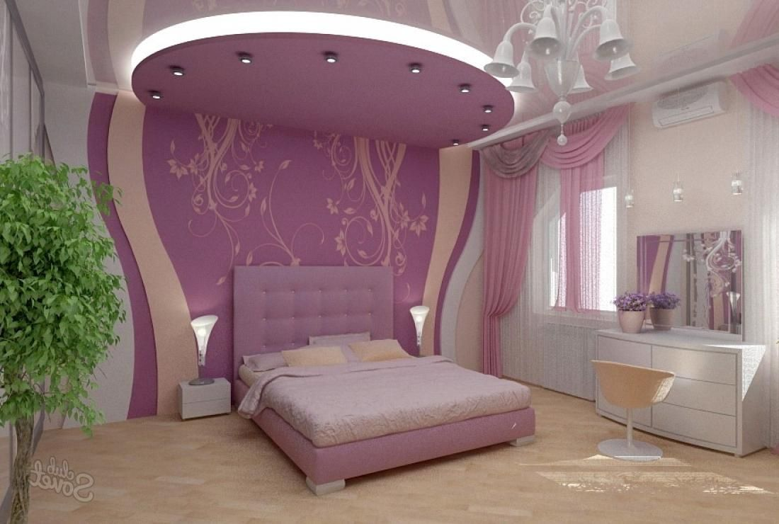 Charming Bedroom For Women In Lilac Theme And Beautiful Bedside Lamps Also White  Dressing Table And Pretty