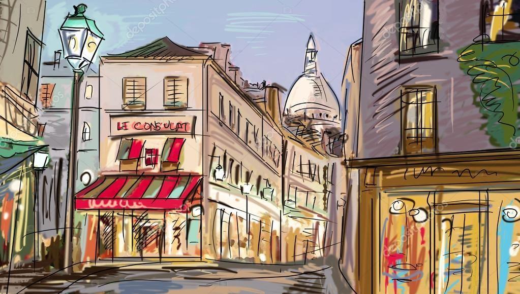 Улица в Париже - иллюстрация — Стоковое фото | Иллюстрации ...