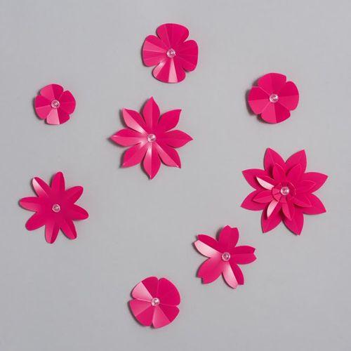 Décor mural, Stickers 3D Nuée de Fleurs Fushia © Emma Roux