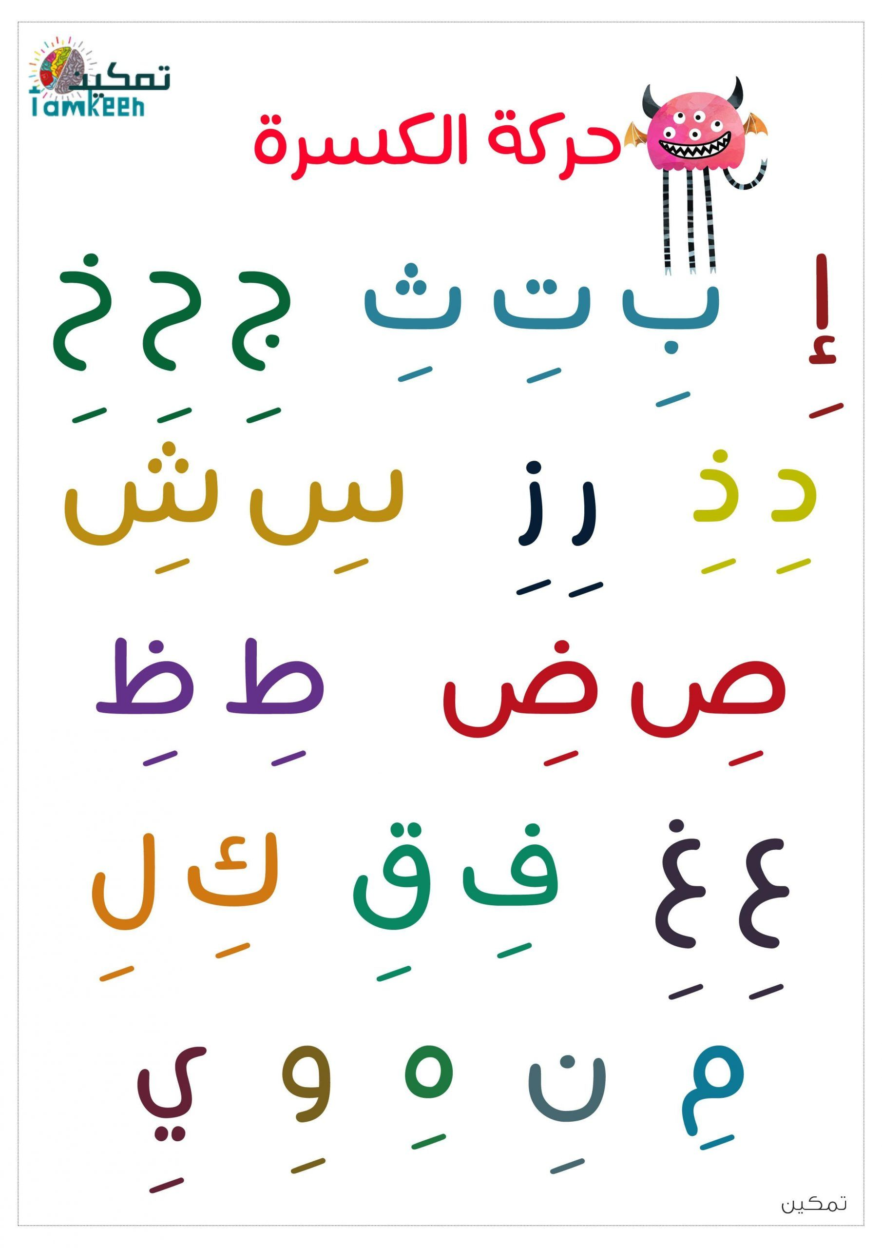 الحروف الهجائية مع حركة الكسرة لتعليم الاطفال النطق Learning Arabic Math Word Search Puzzle