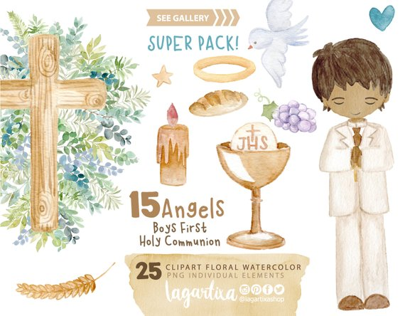 Watercolor Boy First Holy Communion Brunette Blonde Clip Etsy In 2021 Clip Art Floral Watercolor First Holy Communion