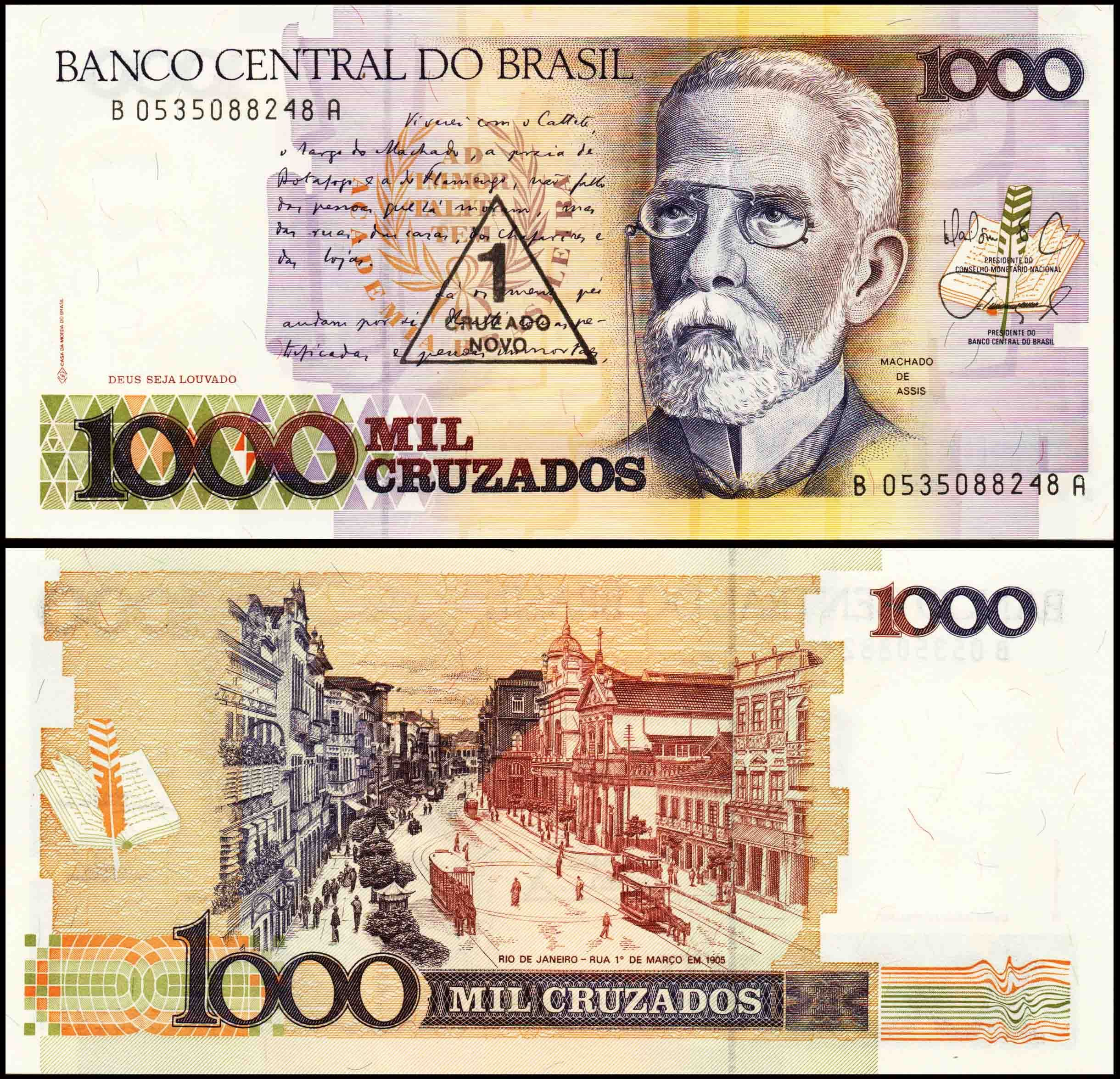 Brazil 1000 Cruzados Unc Banknote Bank Notes Banknotes Money