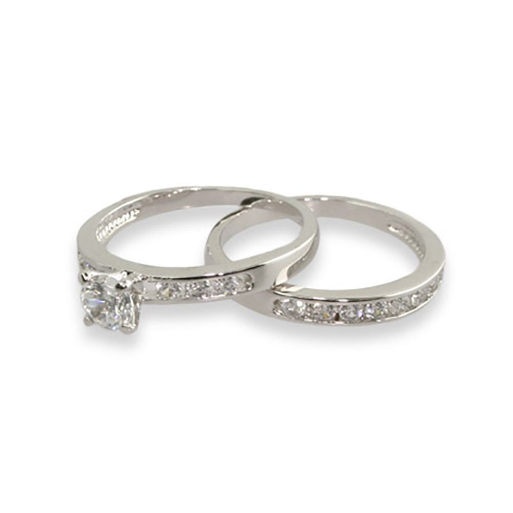 simple channel set cz wedding ring set - Simple Wedding Ring Sets