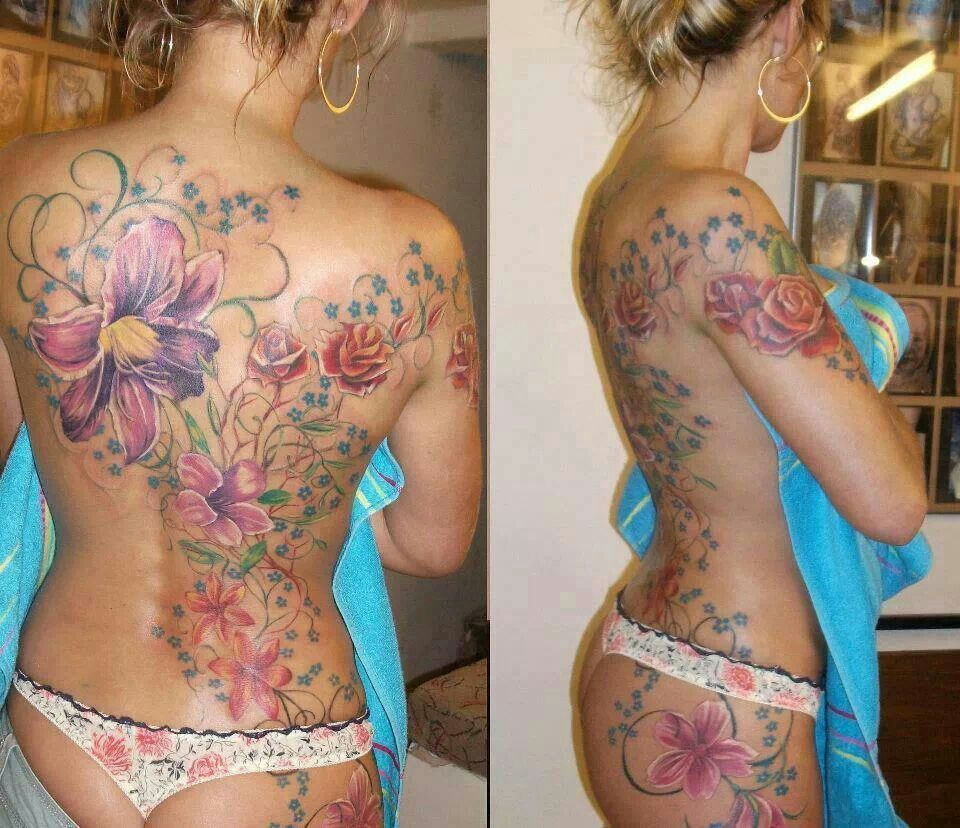 Colourful Flower Swirls And Vine Large Back Tattoo Floral Back