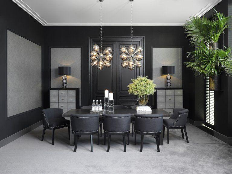 Prestizowa Marka Eichholtz Udowadnia Ze Czarny Wystroj Wnetrza Moze Wygladac Pieknie Dark Dining Room Black Dining Room Gold Dining Room