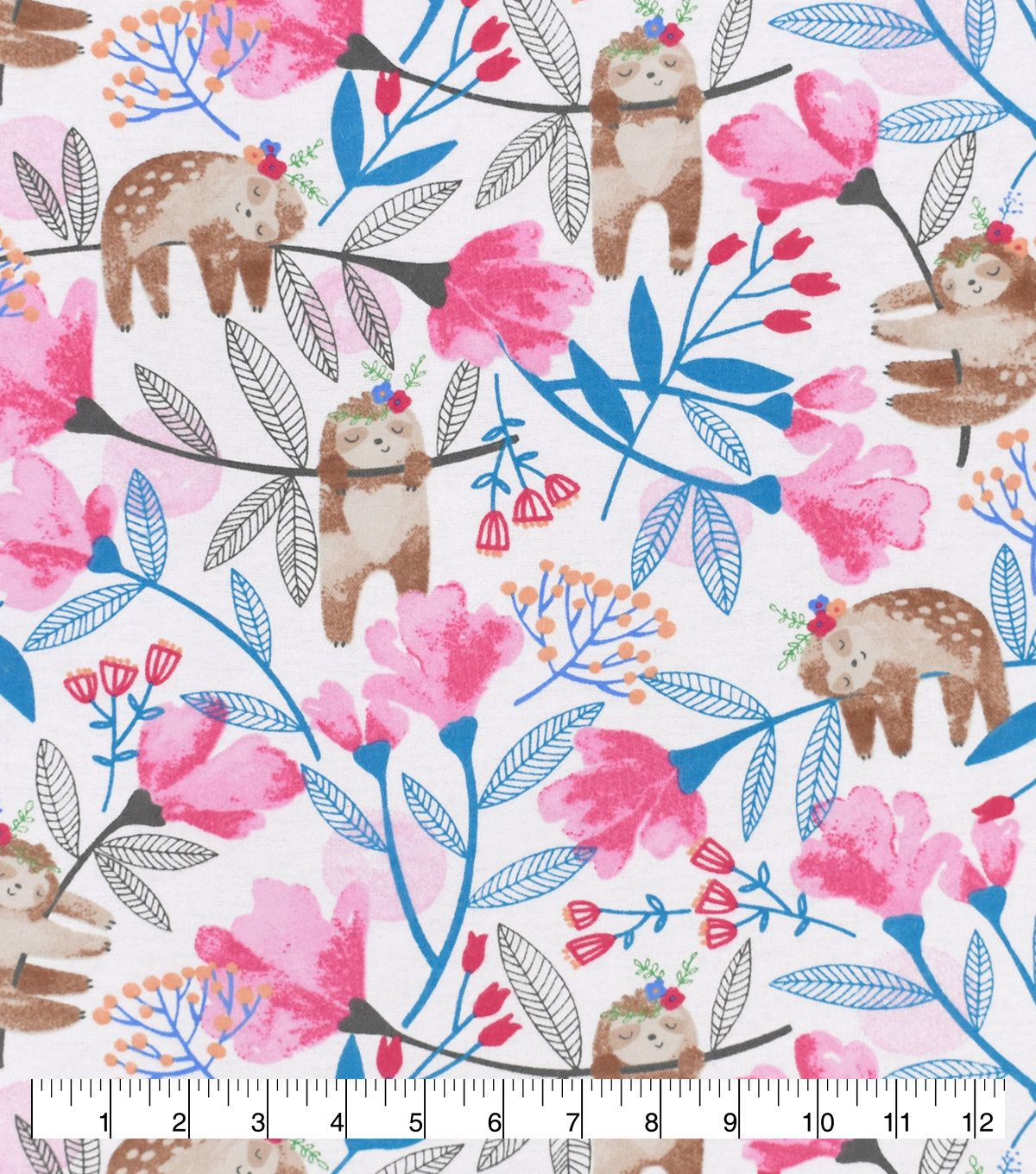 Snuggle Flannel Hanging Floral Sloth Fabric By The Yard Flannel Fabric Fabric Birds Fabric Flags