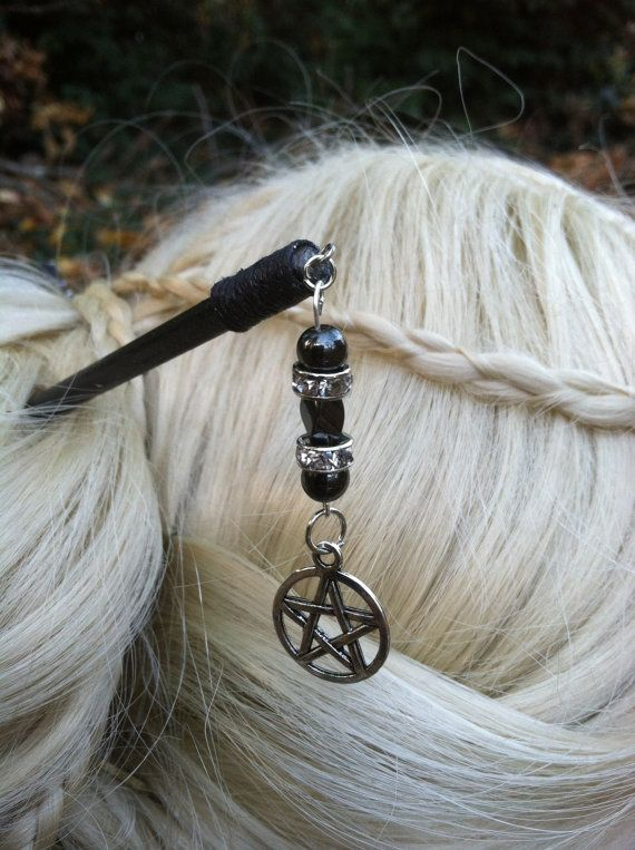 Wicca Wiccan Pagan Spell Hematite and Rhinestones by WitchSisters, $15.00