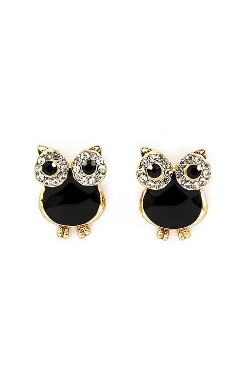 Jet Black Gold Owl Earrings