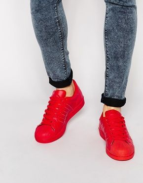 890ae95ed0bf3 Adidas Originals x Pharrell Williams Supercolour Superstar Trainers S41833  Red Sneakers
