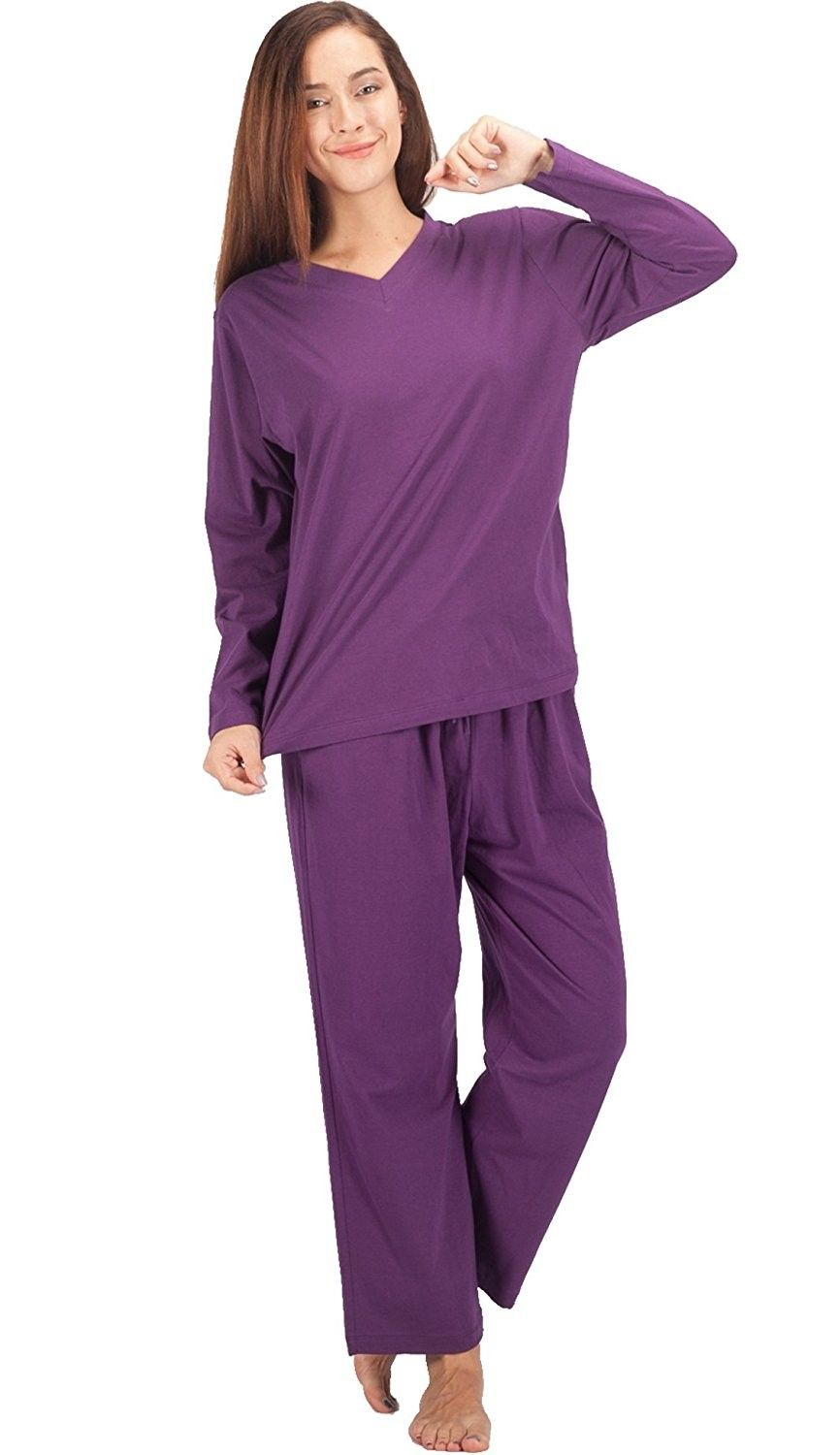 48eabaad9cb6 Womens Pajama Sets Cotton Sleepwear Long Sleeve PJ Set - Purple -  CN180N88T27