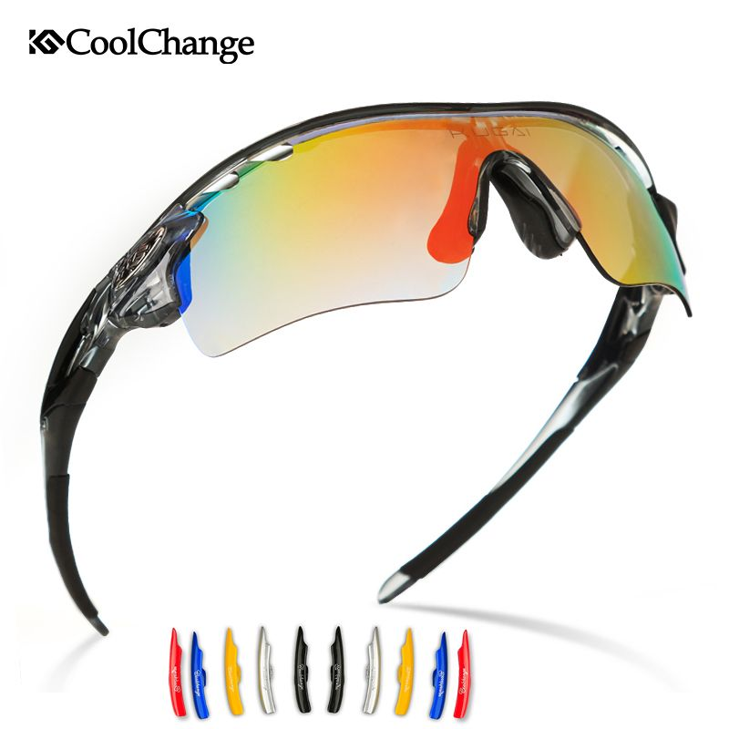 48fb380981c Coolchange Polarized Sport Sunglasses Men UV400 5Lenses Cycling Sun Glasses  Outdoor Riding Eyewear Googles Bike Cycling Glasses