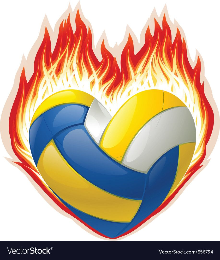 Heart Shaped Volleyball On Fire Vector Image On Vectorstock In 2020 Heart Shapes Wedding Ring Shapes Vector Flowers