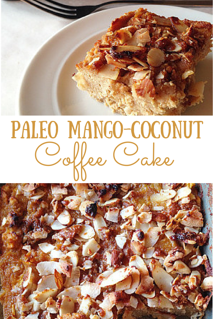 Start your morning off right with this Paleo Mango-Coconut Coffee Cake! So decadent and delicious, you won't believe its good for you!  #paleo #grainfree #glutenfree