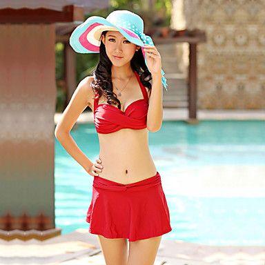 Women's Three-piece Cute Simple Halter Bikini