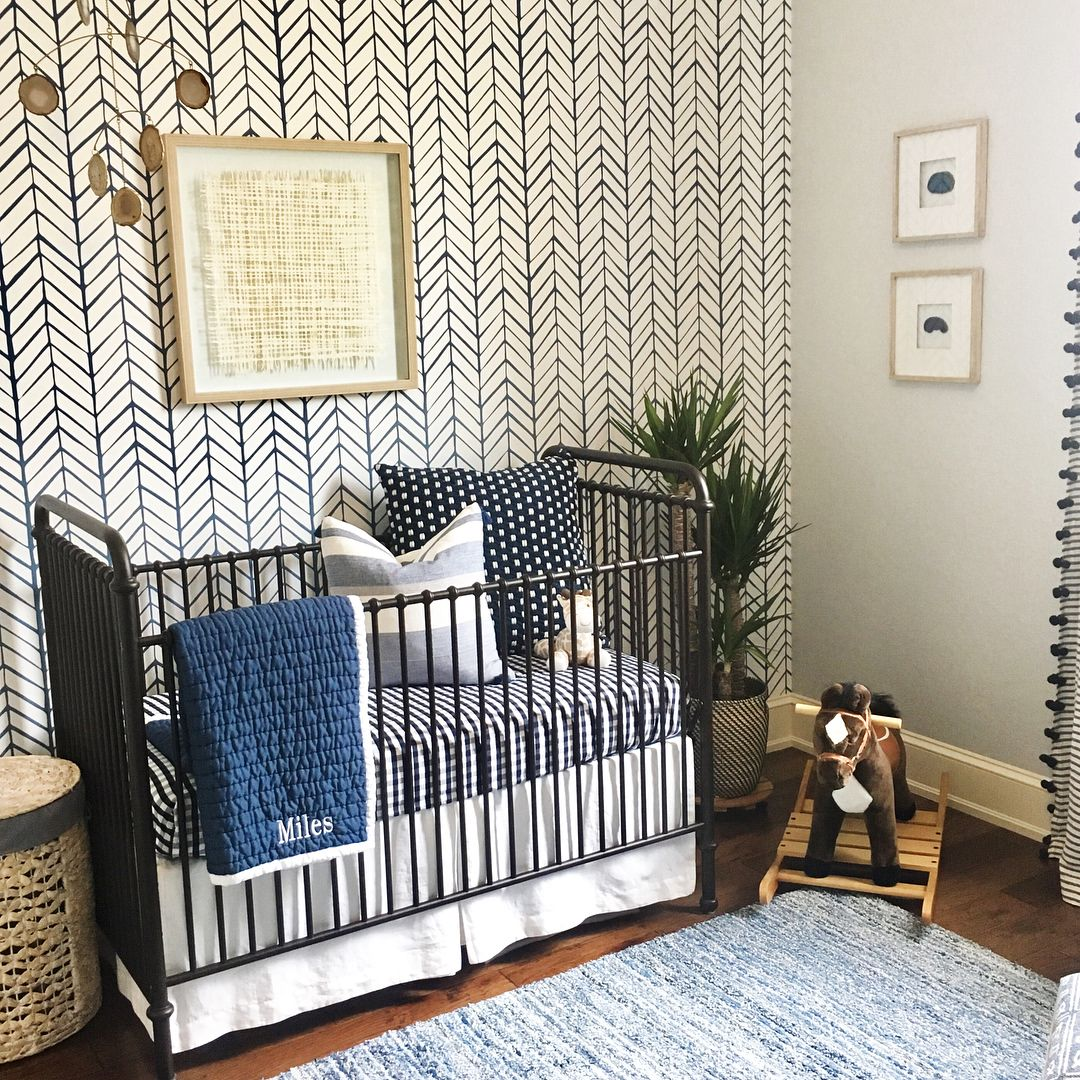 Baby Boy Nursery Blue And White Serena And Lily Wallpaper Nursery Wallpaper Boy Baby Blue Wallpaper Blue Nursery Boy