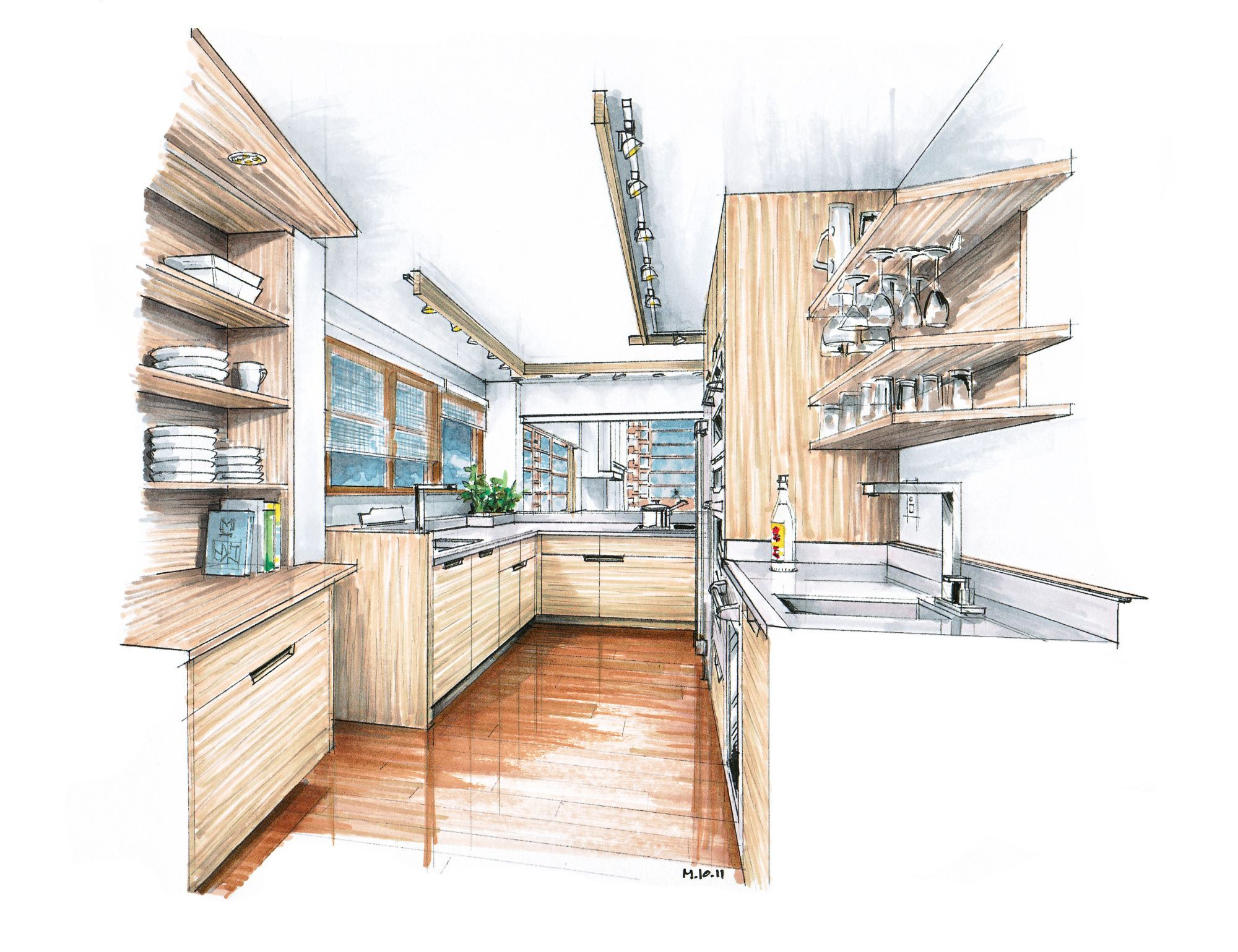 A kitchen proposal for rudolf schindler 39 s lovell beach for Interior design sketches