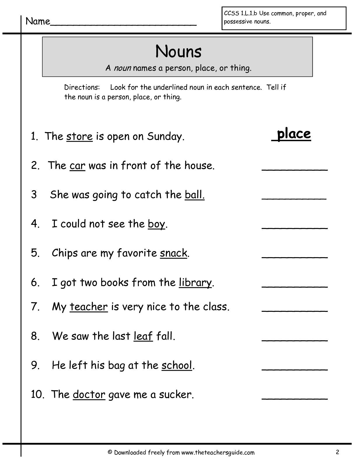 First grade grammar worksheets nouns