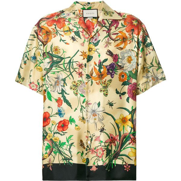 639ec49f Gucci floral print shirt ($960) ❤ liked on Polyvore featuring men's  fashion, men's