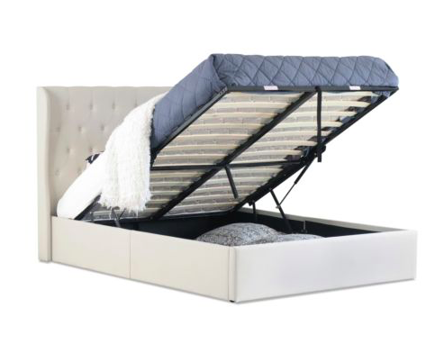 Buckley Gas Lift Collection Bed Frame Beige With Images Bed Frame With Storage Ottoman Storage Bed Fabric Bed Frame