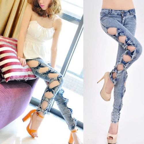 Vintage-Detailed-Womens-Side-Bow-Cutout-Ripped-Denim-Sexy-Jeans-Jeggings-Pants