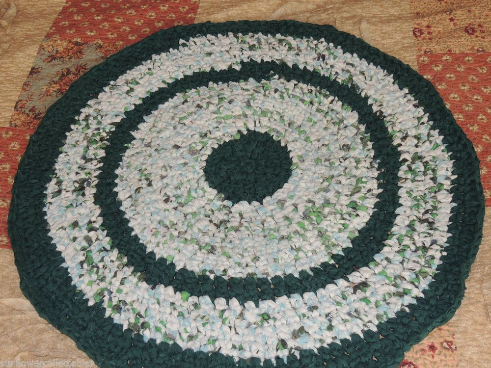 "Hand Made Crochet Rag Rug ~NEW 32"" Round EVERGREEN Shabby Country!  #HOLIDAYRAGRUGPRIMITIVE"