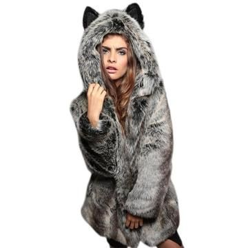 0f3ea3345dc4 Rabbit Hair Collar Imitation Furs Lady Coat Hooded Ear Cartoon Plush Coat