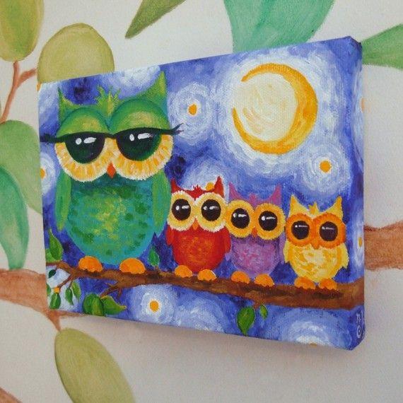 Owl Wohndesign: Nursery Art, COLORFUL OWL FAMILY, 7x5 Acrylic On Canvas