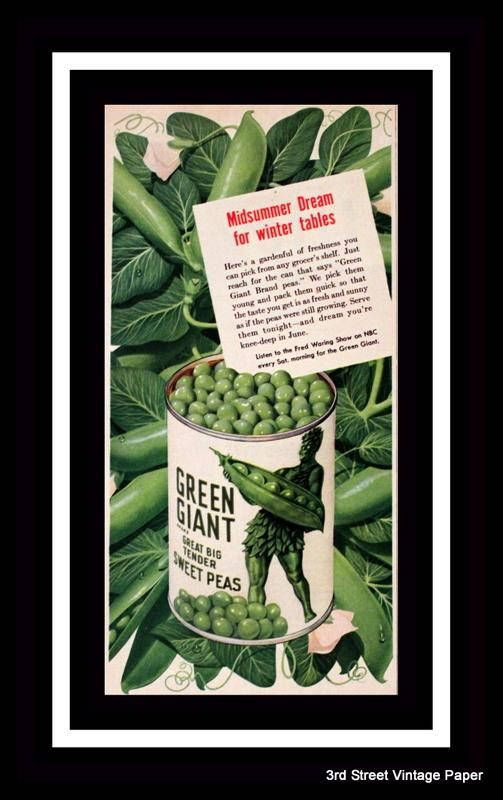 1950 Green Giant Canned Peas Ad Home Decor Kitchen