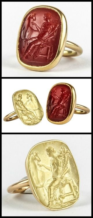Antique Carnelian Intaglio and its Impression Rings. The first ring is in 18 and 22K gold and is set with a carnelian intaglio representing Fortuna Matens, seated with a cornucopia and holding the reins of a horse, Florence, 1740-1760 (Provenance: collection of Robertson Davies, 1913-1995). The second ring represents the impression of the intaglio on gold. They have been designed to be worn together, one on the ring finger, the other on the pinky.