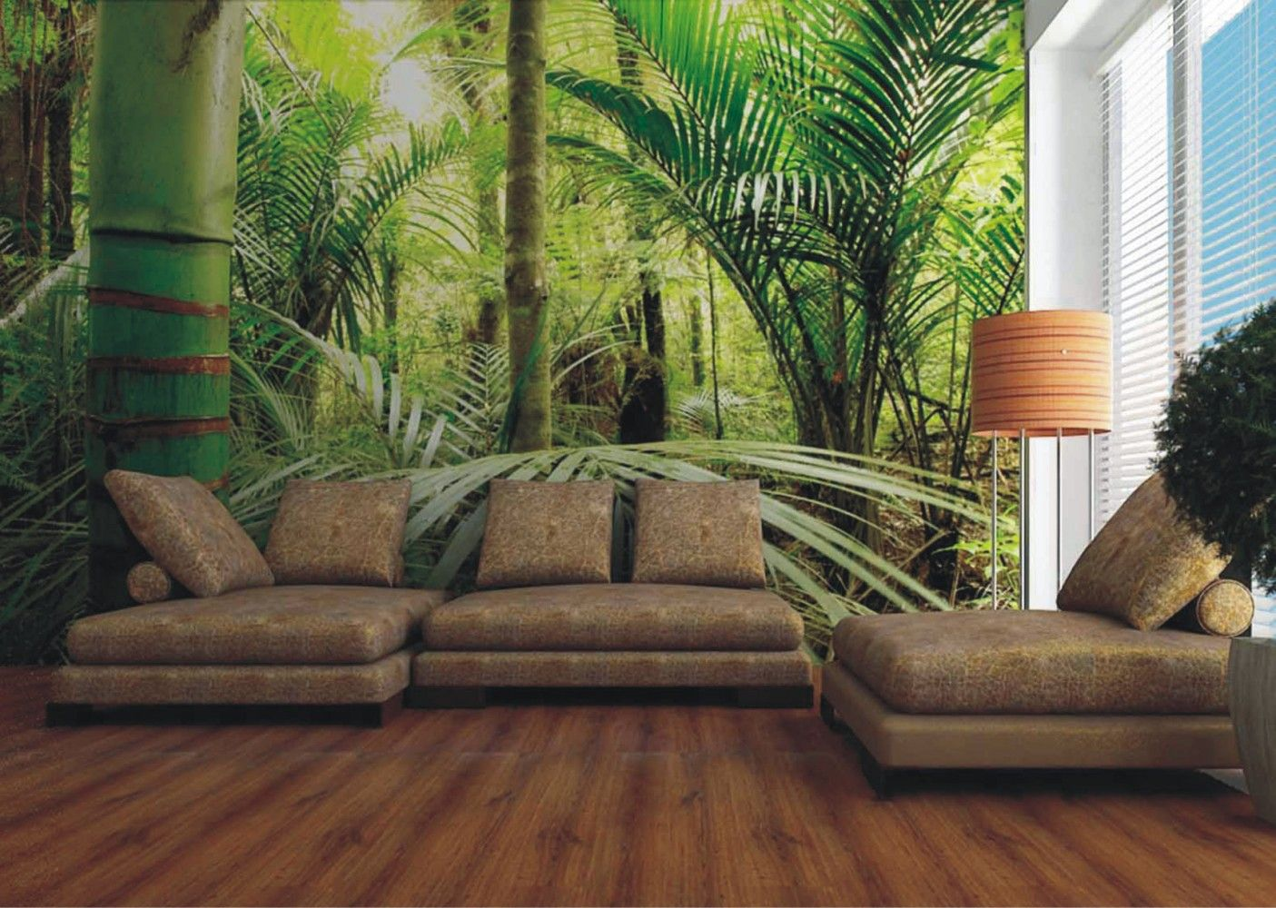 Wall murals nature wall mural wallpaper nature jungle for Nature room wallpaper