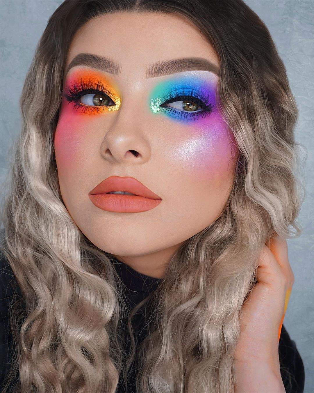 Rainbow Smokey Eyes I Have A Tutorial For The Orange Eye Further Down My Page Inspired By The Amazi Rainbow Eye Makeup Dramatic Makeup Prom Makeup Looks