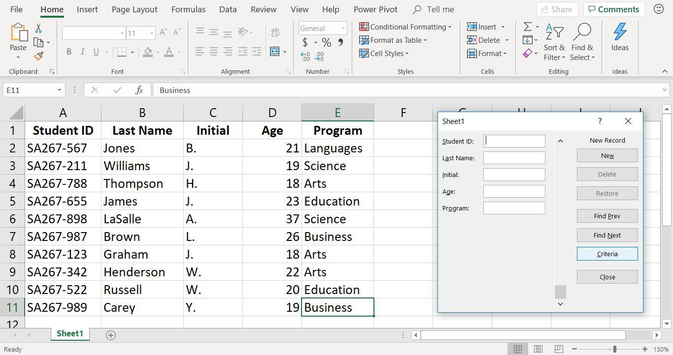 Use An Excel Data Form To Quickly Add Data To A Worksheet Data Form Data Entry Data