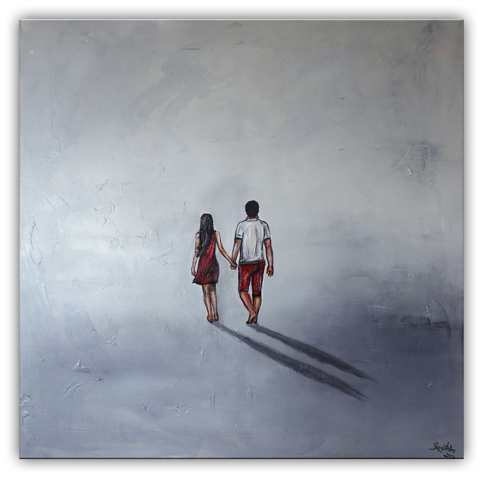 Gemeinsam Frau Mann Spaziergang Strand Gemälde Malerei Kunst ...
