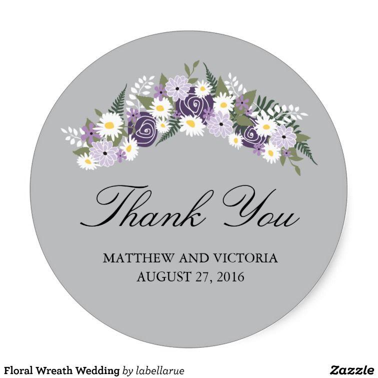 Floral Wreath Wedding Classic Round Sticker Floral