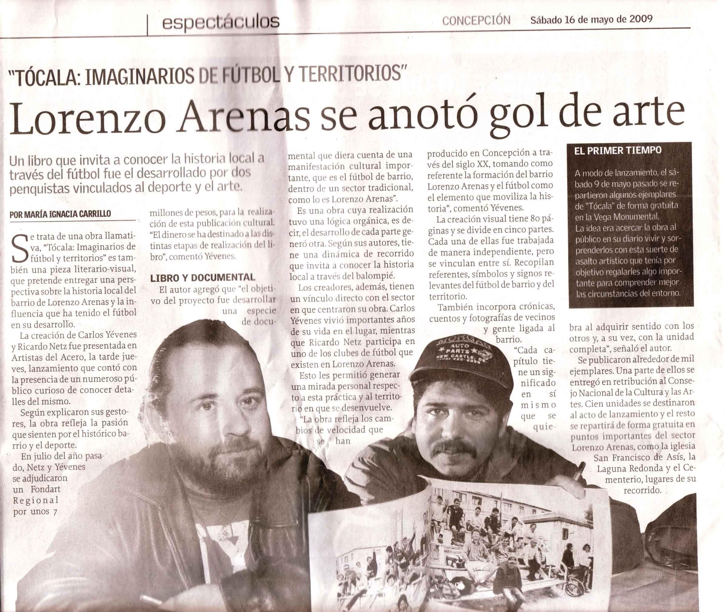 """Ricardo Netz y Carlos Yevenes, autores de TOCALA, IMAGINARIOS DE FUTBOL Y TERRITORIOS, en """"Espectáculos"""" de Diario El Sur de Concepción"""