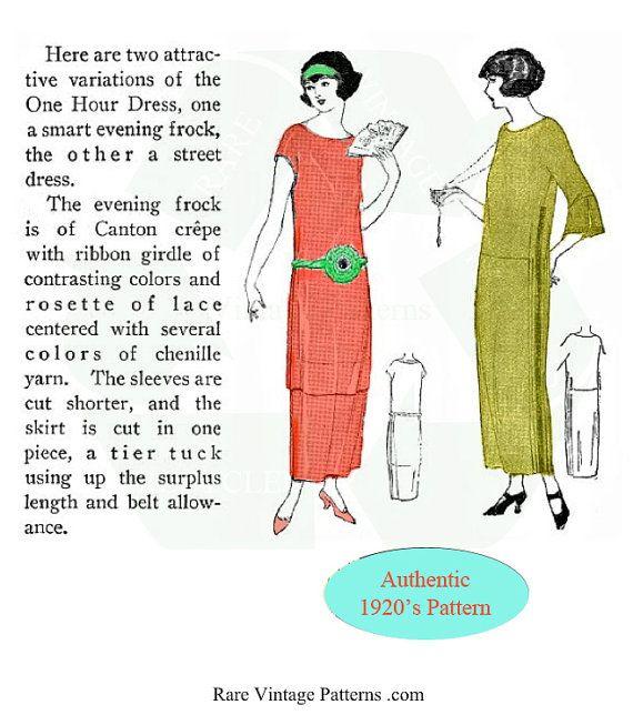 Art Deco Vintage Downton Abbey Style 1920s Easy Dress Pattern Etsy In 2020 Downton Abbey Fashion Simple Dress Pattern Simple Dresses