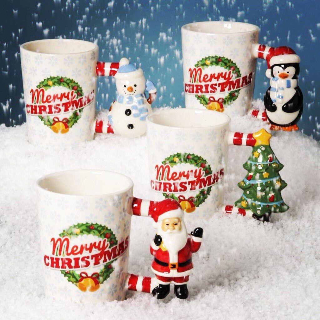 Christmas Shaped Handle Ceramic Mugs Santa Christmas Tree Snowman And Penguin Christmas Mugs Mugs Giftware