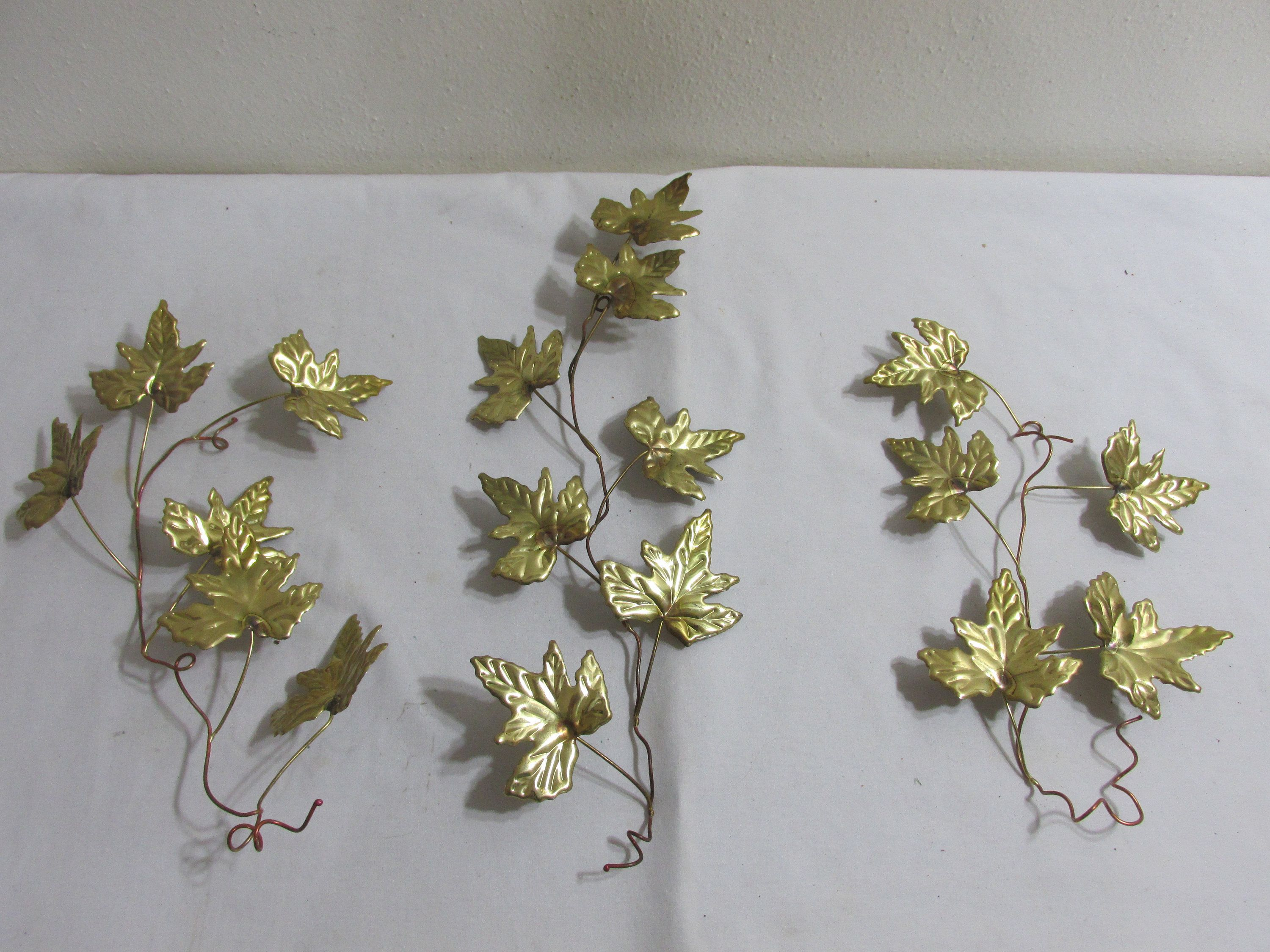 6cd0704592 Metal Leaf Stem Wall Decor Vintage Gold Tone Set of 3 by LuRuUniques on Etsy