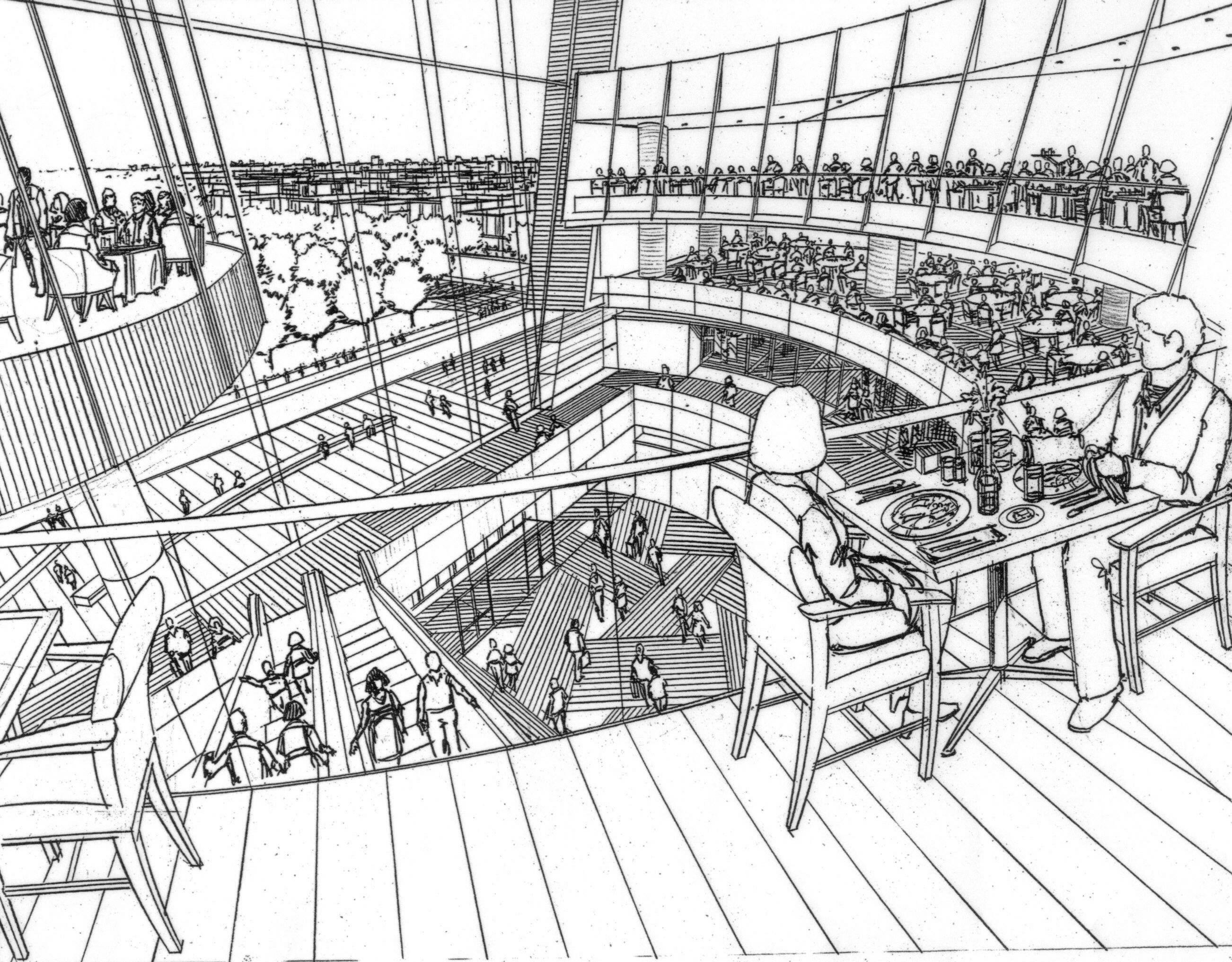 Preliminary sketch of retail mall interior. Black