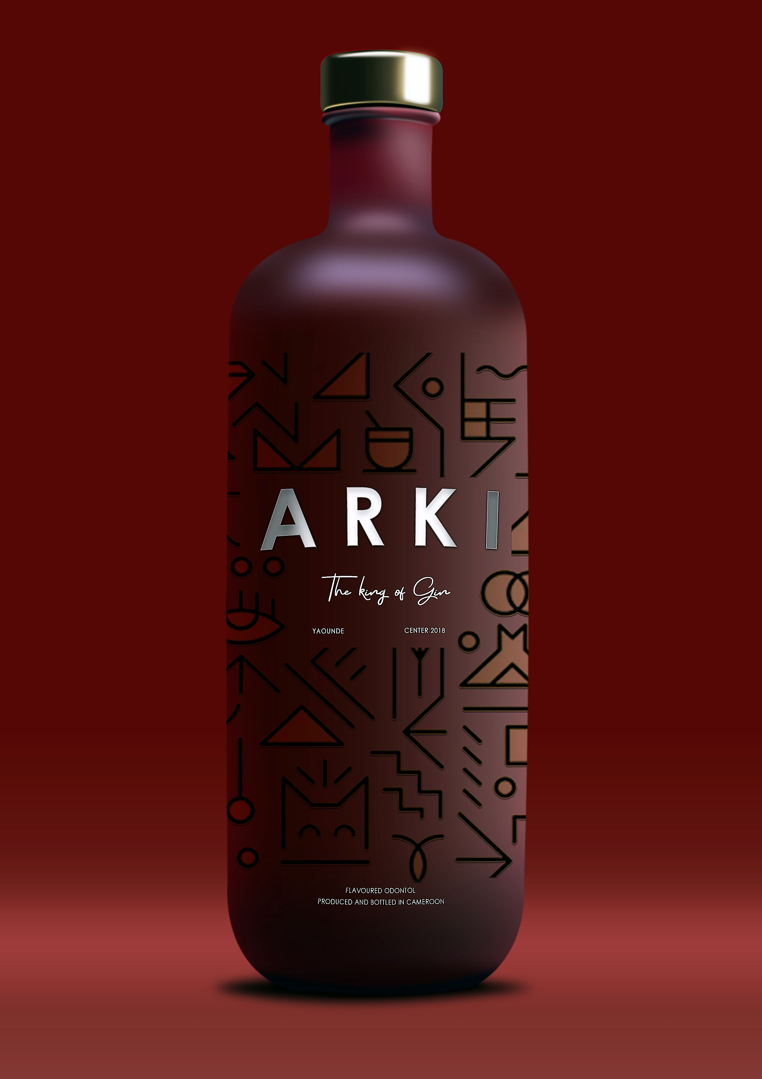 Arki Red Label Gin Packaging Bottle 2019 Made By Mayemdesign Premium Bottle Packaging Glass Packaging Alcohol Packaging